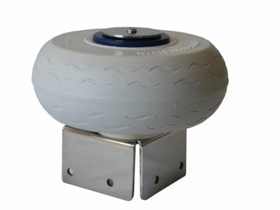 Marinaquip – Innovative Marina Equipment: Docking Wheel. Seriously strong stainless steel bracket with puncture proof solid polyurethane foam rolling fender corner wheel